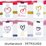 postcards with beautiful hearts ...   Shutterstock .eps vector #597931403