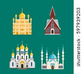 cathedral churche temple... | Shutterstock .eps vector #597939203