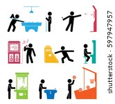 pictograms representing people... | Shutterstock .eps vector #597947957