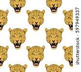 leopard face tattoo  ...   Shutterstock . vector #597949337