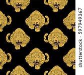 leopard face tattoo  ...   Shutterstock . vector #597949367