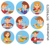 vector illustration round icons ... | Shutterstock .eps vector #597950573
