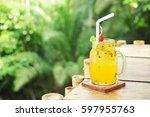 passion fruit juice in glass. | Shutterstock . vector #597955763