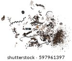 pile scrap metal shavings... | Shutterstock . vector #597961397