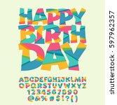 children happy birthday...   Shutterstock .eps vector #597962357