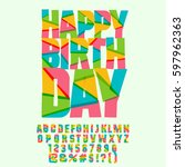 happy birthday greeting card... | Shutterstock .eps vector #597962363