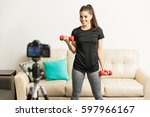 gorgeous young hispanic fitness ... | Shutterstock . vector #597966167