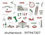 italy travel doodle set with... | Shutterstock .eps vector #597967307