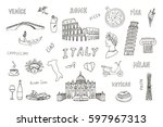 italy travel line doodle set... | Shutterstock .eps vector #597967313