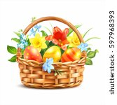 Easter Basket With Eggs And...