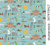italy travel doodle pattern... | Shutterstock .eps vector #597975917