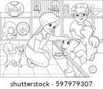 children coloring cartoon... | Shutterstock .eps vector #597979307