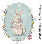 cute hare girl | Shutterstock .eps vector #597984317