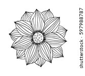 lotus flower hand drawn... | Shutterstock .eps vector #597988787