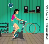 caucasian woman riding... | Shutterstock .eps vector #597994127