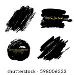 set of black paint  ink brush... | Shutterstock .eps vector #598006223