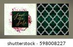 set of trendy wedding... | Shutterstock . vector #598008227
