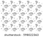 black and white pattern with... | Shutterstock .eps vector #598022363