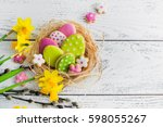 Easter Cookies On Wooden...