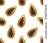 tropical pattern with papaya...   Shutterstock .eps vector #598055633