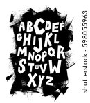 hand lettering font on grungy... | Shutterstock .eps vector #598055963