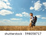 little boy with a backpack in... | Shutterstock . vector #598058717