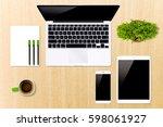 top view work desk with laptop  ... | Shutterstock . vector #598061927