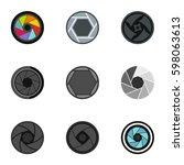 camera shutter icons set. flat... | Shutterstock .eps vector #598063613