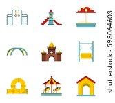 kids playground icons set. flat ... | Shutterstock .eps vector #598064603