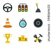 car racing icons set flat