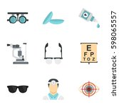 vision correction icons set.... | Shutterstock .eps vector #598065557