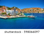 view on greek sea symi island... | Shutterstock . vector #598066097