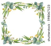 watercolor hand painted wreath... | Shutterstock . vector #598067123