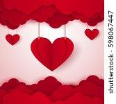 love concept   heart in the sky ... | Shutterstock .eps vector #598067447