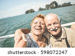 happy retired senior couple... | Shutterstock . vector #598072247