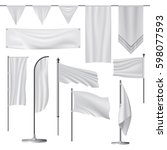 flag mockup set. realistic... | Shutterstock .eps vector #598077593