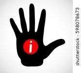 black hand and information sign ... | Shutterstock . vector #598078673