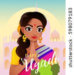 happy ugadi. gudi padwa hindu... | Shutterstock .eps vector #598079183