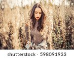 outdoor fashion photo of young... | Shutterstock . vector #598091933