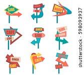 retro road signs. vintage... | Shutterstock . vector #598093937