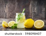 lemonade drink in a jar glass... | Shutterstock . vector #598098407