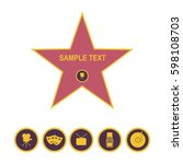 walk of fame star and icons... | Shutterstock .eps vector #598108703