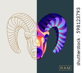 thin line and abstract ram...   Shutterstock .eps vector #598123793