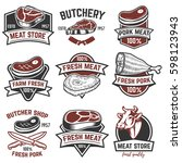 set of meat store labels.... | Shutterstock .eps vector #598123943