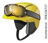 protective yellow sports helmet ... | Shutterstock .eps vector #598136717