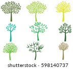 stylized vector green tree... | Shutterstock .eps vector #598140737