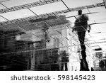 reflection shadow of a man... | Shutterstock . vector #598145423