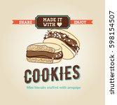 delicious caramel cookies... | Shutterstock .eps vector #598154507