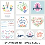 vector happy easter templates... | Shutterstock .eps vector #598156577