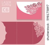 vector die laser cut envelope... | Shutterstock .eps vector #598175897
